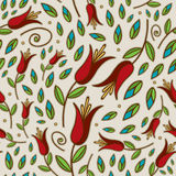 Seamless Doodle Lily Pattern Royalty Free Stock Images