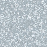Seamless doodle love in gray Royalty Free Stock Images