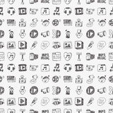 Seamless doodle media pattern Royalty Free Stock Photos