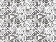 Seamless doodle media pattern Royalty Free Stock Photo