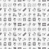 Seamless doodle media pattern Stock Photos