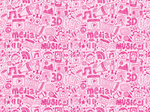Seamless doodle media pattern Royalty Free Stock Image