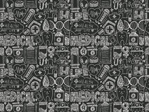 Seamless doodle medical pattern Royalty Free Stock Photography