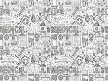 Seamless doodle medical pattern Royalty Free Stock Photos