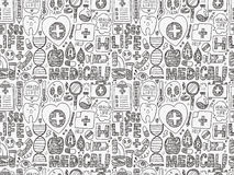 Seamless doodle medical pattern Stock Photo