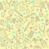 Seamless doodle medical pattern with colored hearts Stock Images