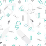 Seamless doodle medical pattern Stock Photos