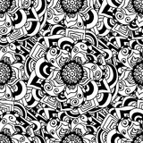 Seamless doodle. Monochrome floral pattern. Royalty Free Stock Photography