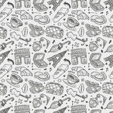 Seamless doodle Paris pattern Stock Image