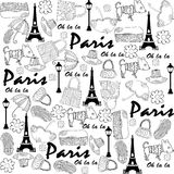 Seamless doodle Paris pattern Stock Photography