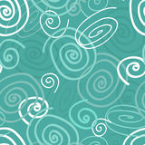 Seamless doodle pattern. Seamless pattern of beautiful and simple intertwined doodles or swirls in soft blue green tones great for fabric or wallpaper Stock Photo