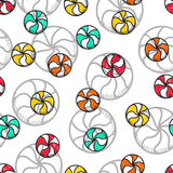 Seamless doodle pattern with bright candy handmade Royalty Free Stock Photos