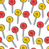 Seamless doodle pattern with bright candy handmade Stock Photo