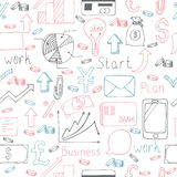 Seamless doodle pattern with business symbols. Vector illustration Royalty Free Stock Images