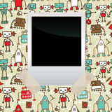 Seamless doodle pattern with colorful robots Royalty Free Stock Photography