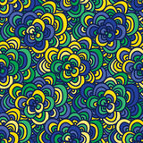 Seamless doodle pattern in the colors of the Brazilian flag. Royalty Free Stock Image
