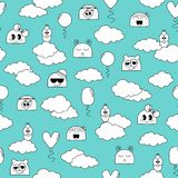 Seamless doodle pattern with fanny characters vector illustration