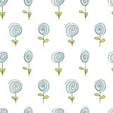 Seamless doodle pattern of flowers Stock Image