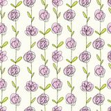 Seamless doodle pattern of flowers Royalty Free Stock Photography