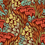 Seamless doodle pattern with flowers and hearts Royalty Free Stock Photos