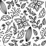 Seamless black white Floral pattern royalty free illustration