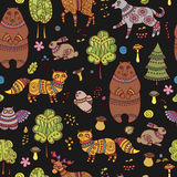Seamless doodle pattern with forest animals and birds Stock Images