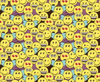 Seamless doodle pattern with fun positive emoticon expressions. Smile, wink, angel, surprised, in love, laugh smileys included Stock Photos