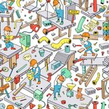 Seamless Doodle Pattern: `Funny Working People` Royalty Free Stock Image