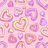 Seamless doodle pattern with hand drawn hearts Stock Photography