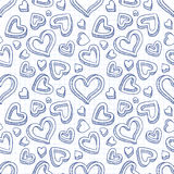 Seamless doodle pattern with hand drawn hearts Stock Photo
