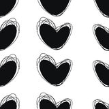 Seamless doodle pattern. Heart hand drawings. Background for creativity. Black and white Stock Photography