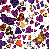 Seamless doodle pattern with hearts, love and kisses. Hand drawn. Royalty Free Stock Image