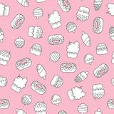 Seamless doodle pattern with ice creams and cakes. Seamless doodle pattern with black and white cute ice creams and cakes on a pink background stock illustration