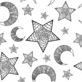Seamless doodle pattern with moon and stars stock illustration