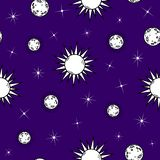 Seamless doodle pattern with moons,suns and stars vector illustration