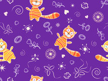 Seamless doodle pattern with red cats Stock Images