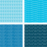 Seamless Doodle Pattern Set Blue. A set of four seamless doodle patterns Stock Photos