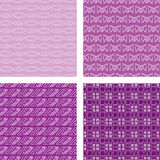 Seamless Doodle Pattern Set Purple. A set of four seamless doodle patterns Royalty Free Stock Image