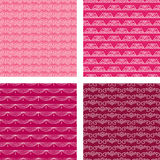 Seamless Doodle Pattern Set Red Royalty Free Stock Images
