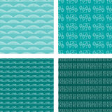 Seamless Doodle Pattern Set Turquoise. A set of four seamless doodle patterns Stock Photos