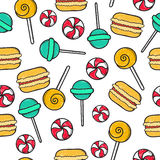 Seamless doodle pattern with sucking sweet, candie, macaroon. Royalty Free Stock Images