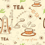 Seamless doodle pattern with tea quote, hot cup of tea with steam, teapot, green tea leaf  Royalty Free Stock Image