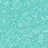 Seamless doodle pattern. Tea,sweets, bird and flowers. Seamless doodle pattern Royalty Free Stock Photography