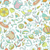 Seamless doodle pattern. Tea,sweets, bird and flowers. Seamless doodle pattern Stock Image