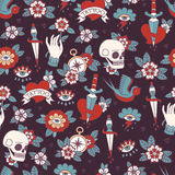 Seamless Doodle Pattern. Traditional Old School Tattoo. Royalty Free Stock Image