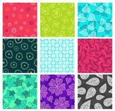 Seamless doodle patterns set. Nine vector swatches Stock Photos