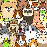 Seamless doodle pet animals faces colorful background. Seamless doodle pet animals colorful background, a lot of characters in it royalty free illustration