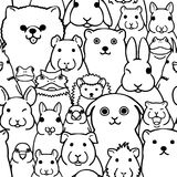 Seamless doodle pet animals faces line art background. Seamless doodle pet animals line art background, a lot of characters in it vector illustration