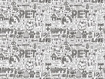 Seamless doodle pet pattern. Cartoon vector illustration Stock Images