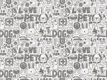 Seamless doodle pet pattern Stock Photography